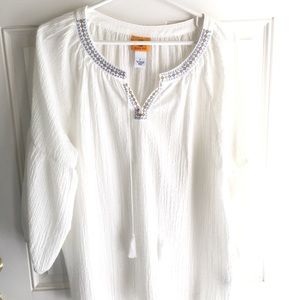 Ruby Rd. White gauzy shirt